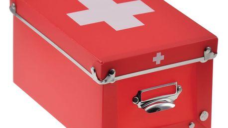Červený úložný box na léky Incidence Cross