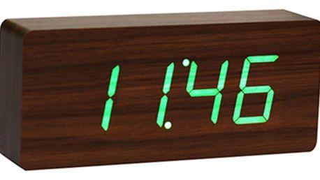 Tmavě hnědý budík se zeleným LED displejem Gingko Slab Click Clock