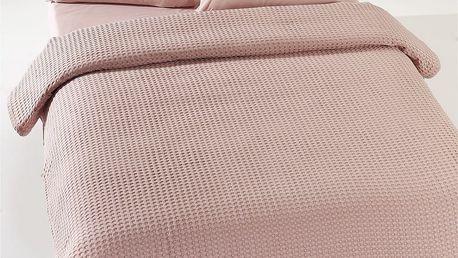 Béžovorůžový lehký bavlněný přehoz přes postel Dusty Rose Pique,200x240cm
