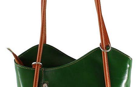 Zelená kožená kabelka Chicca Borse Phoebe - doprava zdarma!