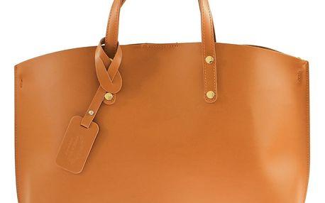 Koňakově hnědá kožená kabelka Chicca Borse City - doprava zdarma!