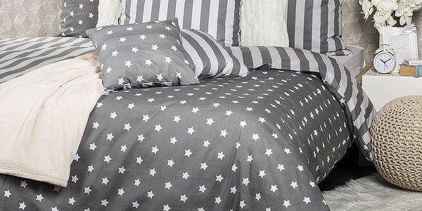 4Home Bavlněné povlečení Stars šedá, 140 x 220 cm, 70 x 90 cm4