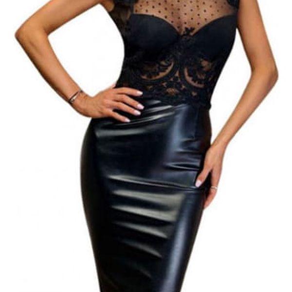 Koženkové šaty s krajkou Jenefer