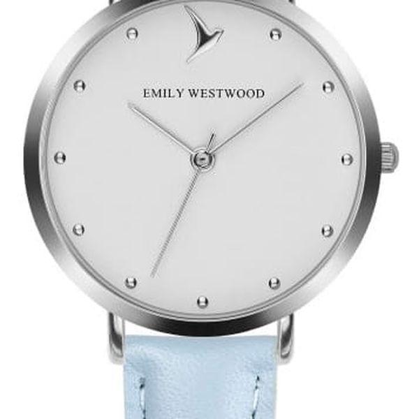 Dámské hodinky se světle modrýmn páskem z pravé kůže Emily Westwood Meeting