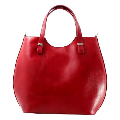 Červená kožená kabelka Chicca Borse Denisse - doprava zdarma!