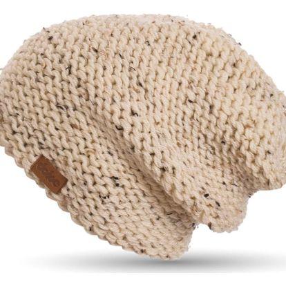 Béžová ručně pletená čepice DOKE Tweed - doprava zdarma!