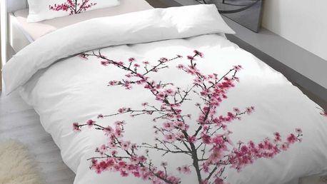 Trade Concept Saténové povlečení Cherry blossom, 140 x 200 cm, 70 x 90 cm