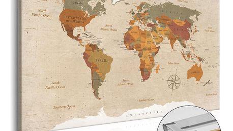 Nástěnka s mapou světa Artgeist Beige Chic, 90x60cm - doprava zdarma!