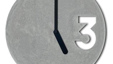 Betonové hodiny s plnými černými ručičkami od Jakuba Velínského - doprava zdarma!
