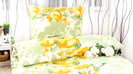XPOSE ® Bavlněné povlečení na dvě lůžka VANESA - žlutá 140x200, 70x90
