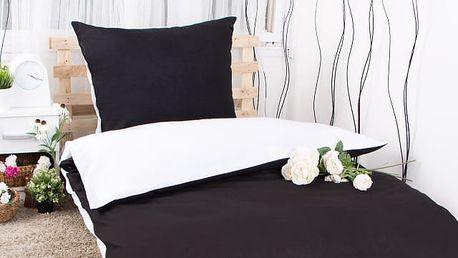 XPOSE ® Prodloužené bavlněné povlečení MICHAELA - černobílá 140x220, 70x90