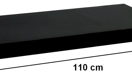 STILISTA 31078 Nástěnná police VOLATO - lesklá černá 110 cm