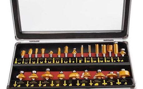 Sada fréz EXTOL PREMIUM 44039, do dřeva s SK plátky, 24 ks v kovovém kufru ocel + Doprava zdarma