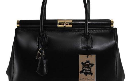 Černá kožená kabelka Chicca Borse Tammy - doprava zdarma!