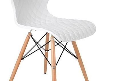 Sada 2 bílých židlí s bukovým podnožím White Label Crow - doprava zdarma!