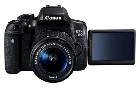 Digitální fotoaparát Canon EOS 750D + 18-55 IS STM + ramenní popruh JOBY Zdarma černý + DOPRAVA ZDARMA