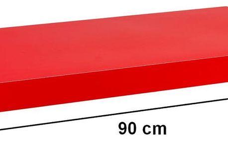 STILISTA 31069 Nástěnná police VOLATO - lesklá červená 90 cm