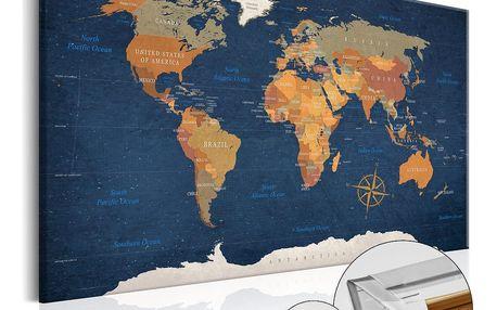 Nástěnka s mapou světa Artgeist Ink Oceans, 90x60cm - doprava zdarma!