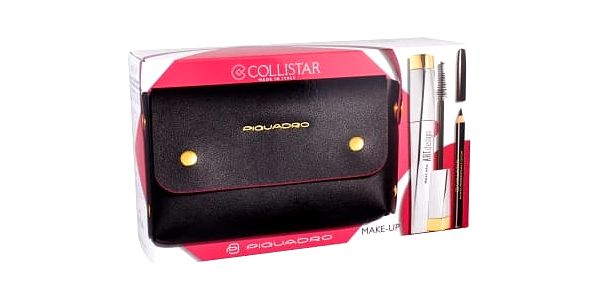 Collistar Art Design dárková kazeta pro ženy řasenka 12 ml + tužka na oči 2 g Black + kabelka