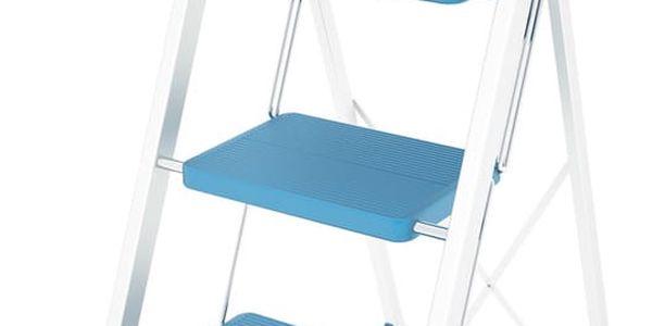 Modrý skládací žebřík Colombo New Scal Stabilo III