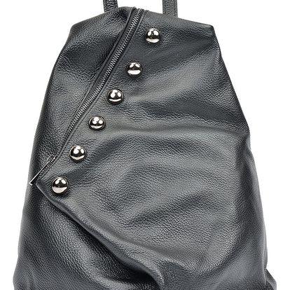 Černý kožený batoh Luisa Vannini Mell - doprava zdarma!