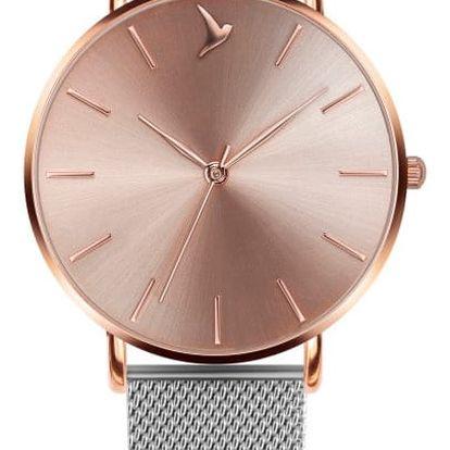 Dámské hodinky s šedým páskem z nerezové oceli stříbrné barvy Emily Westwood Luxury - doprava zdarma!