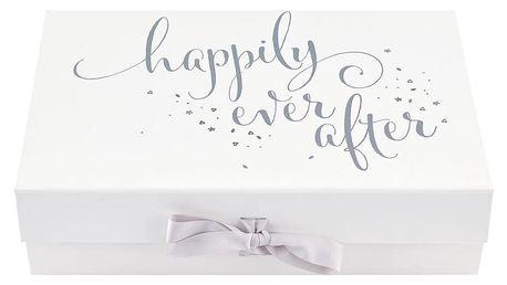 Busy B Památeční svatební krabice Bride to B, šedá barva, bílá barva, stříbrná barva, papír