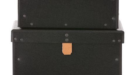 ferm LIVING Kartonový box Black Velikost XL, černá barva, papír
