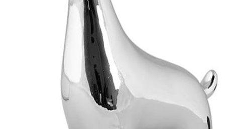 Dekorativní keramická soška ve stříbrné barvě KJ Collection Reindeer Silver, 17 cm - doprava zdarma!
