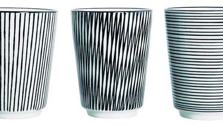 House Doctor Hrneček Stripe Svislé pruhy, černá barva, porcelán