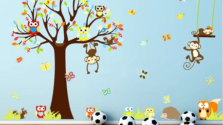 Sada samolepek Fanastick Cute Monkeys Playing On Trees - doprava zdarma!