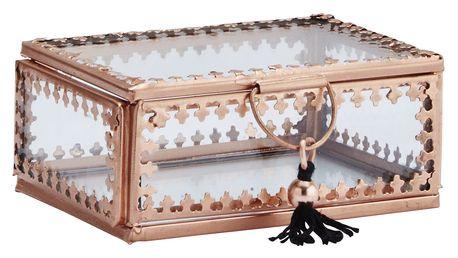 MADAM STOLTZ Skleněná krabička Orient Copper/clear - menší, měděná barva, čirá barva, sklo, kov