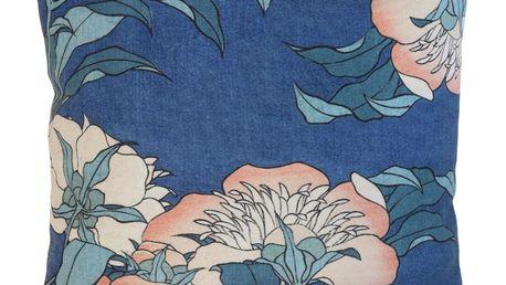 HK living Polštář Japanese Floral 45x45 cm, modrá barva, textil