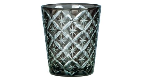 Blossom Skleněný svícen/sklenička Dark grey, šedá barva, sklo
