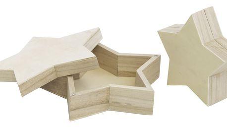 MADAM STOLTZ Dřevěná krabička Star - set 2 ks, béžová barva, dřevo