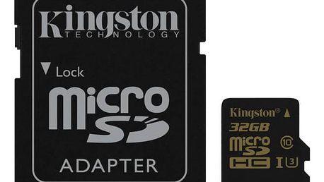 Paměťová karta Kingston MicroSDHC 32GB UHS-I U3 (90R/45W) + SD adapter (SDCG/32GB) černá