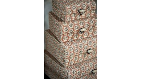 IB LAURSEN Bambusová mini krabička Flower - set 4 ks, oranžová barva, béžová barva, dřevo, dřevotříska