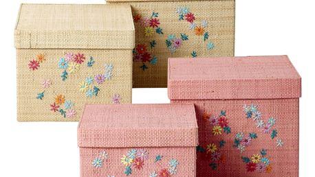 rice Úložná krabička Flowers Natural/Pink Větší růžová, růžová barva, béžová barva, krémová barva, proutí, papír