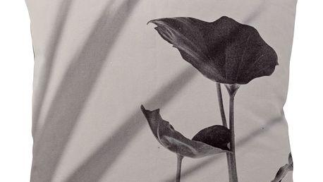 Bloomingville Polštář Print flower grey 45 x 45 cm, šedá barva, textil