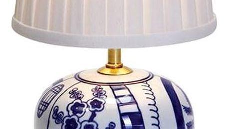 Malá modro-bílá stolní lampa Markslöjd Goteborg - doprava zdarma!
