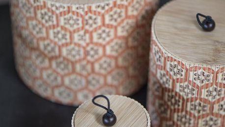 IB LAURSEN Kulatá bambusová krabička Flower - set 3 ks, oranžová barva, béžová barva, hnědá barva, dřevo, dřevotříska