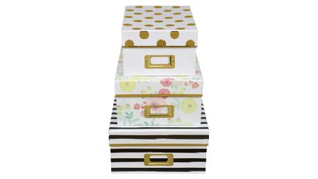 TRI-COASTAL DESIGN Papírová krabice Lovely Blooms Velikost L, černá barva, multi barva, papír