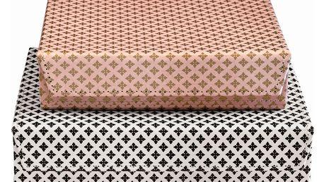 GREEN GATE Papírová krabička Sasha Větší - bílá, růžová barva, černá barva, bílá barva, zlatá barva, papír