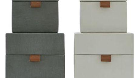 House Doctor Úložný box (kostka) Dark grey/Beige Malý tmavě šedý, béžová barva, šedá barva, papír