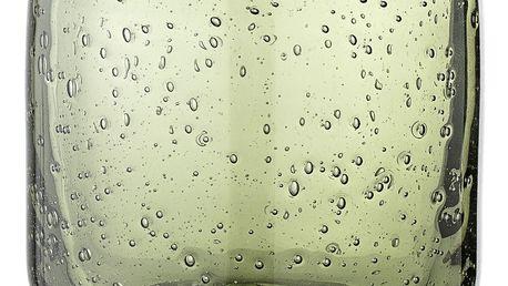 Bloomingville Svícen na čajovou svíčku Green Glass, zelená barva, sklo