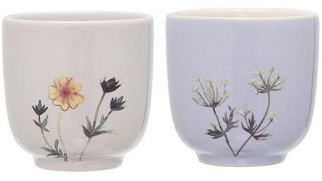 Bloomingville Keramický kalíšek Flora Šedý, modrá barva, zelená barva, šedá barva, keramika