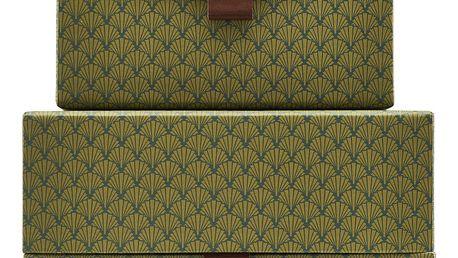 House Doctor Úložný čtvercový box Fan Green Větší, zelená barva, papír, kůže