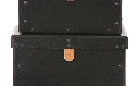 ferm LIVING Kartonový box Black Velikost L, černá barva, papír