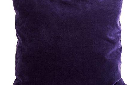 MADAM STOLTZ Sametový povlak na polštář Deep purple 50x50, fialová barva, textil