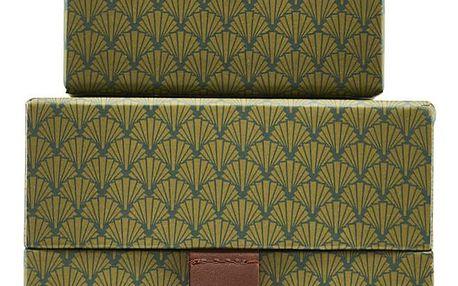 House Doctor Úložný čtvercový box S Fan Green Větší, zelená barva, papír, kůže